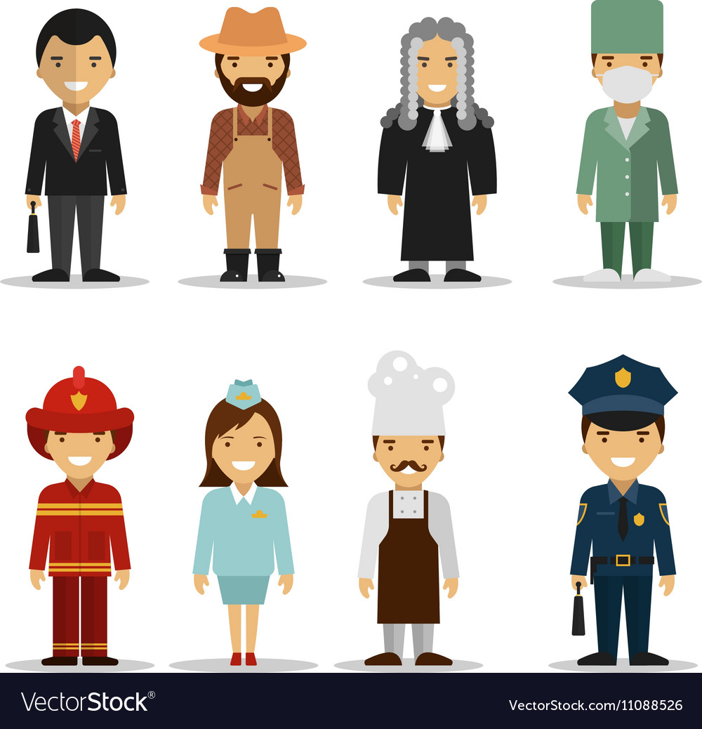 Set of different people professions vector