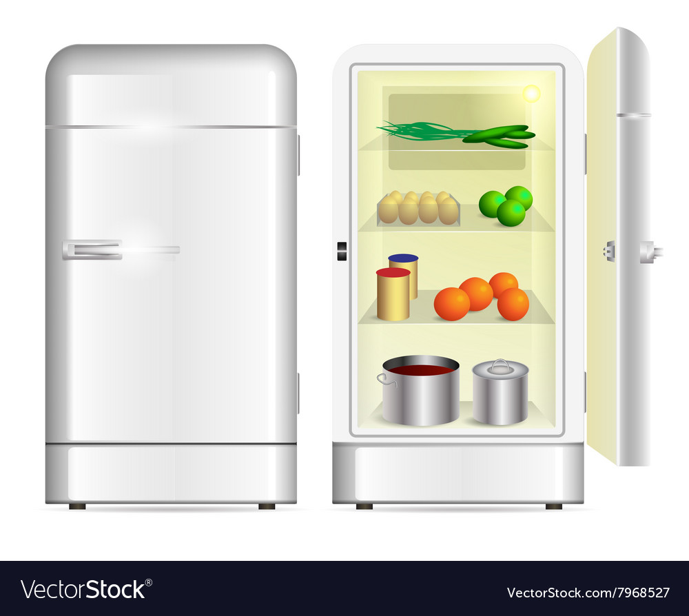 Front view of a retro refrigerator vector