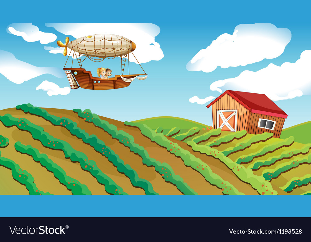 An airship passing over a farm vector