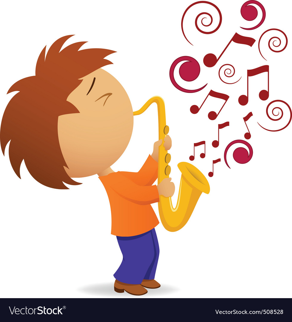 Cartoon saxophonist with abstract music note vector