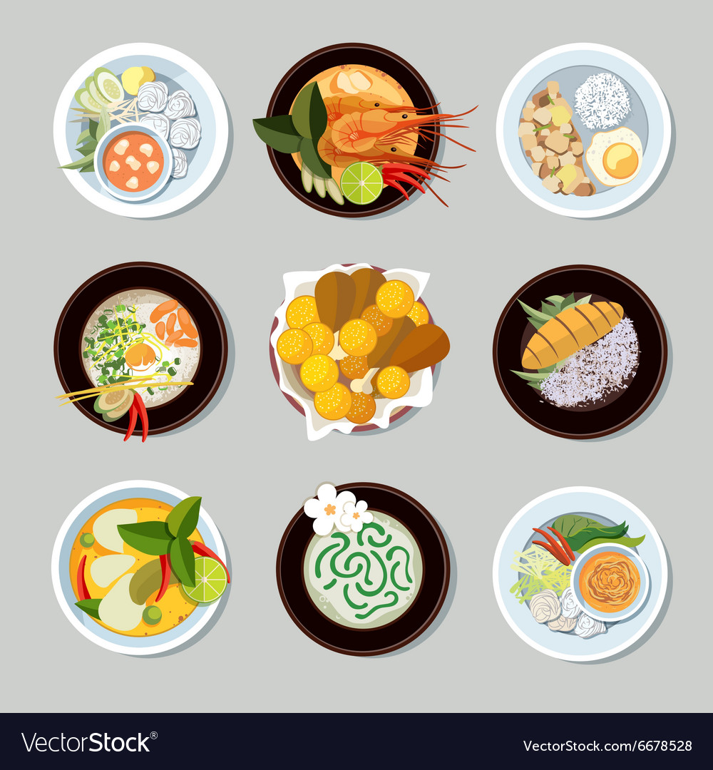 Thai food icons set vector