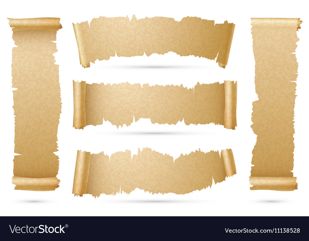 Vertical and horizontal old paper scroll ribbon vector