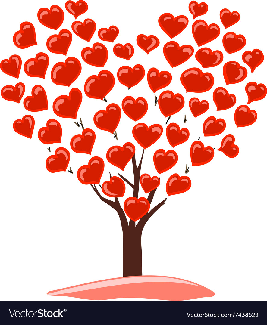 Abstract drawing of tree with heart vector
