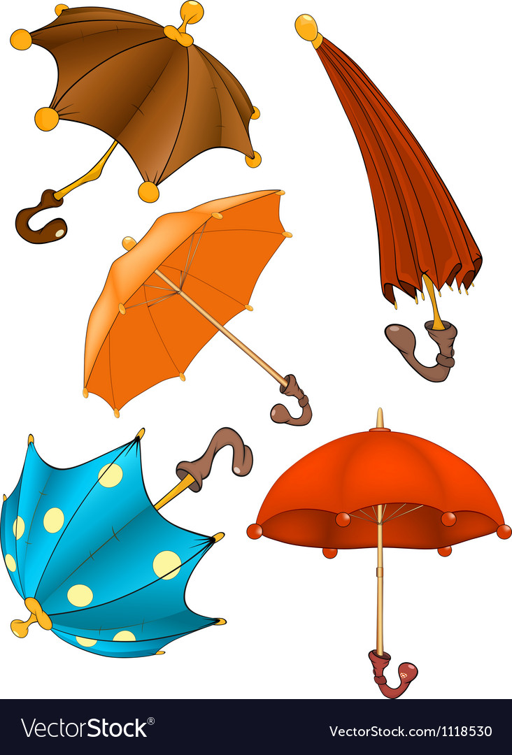 Complete set of umbrellas vector