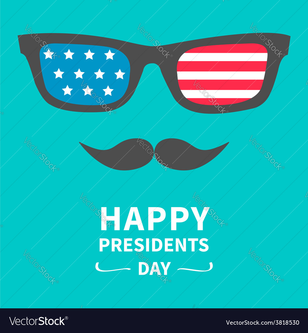 Glasses and mustaches presidents day background vector