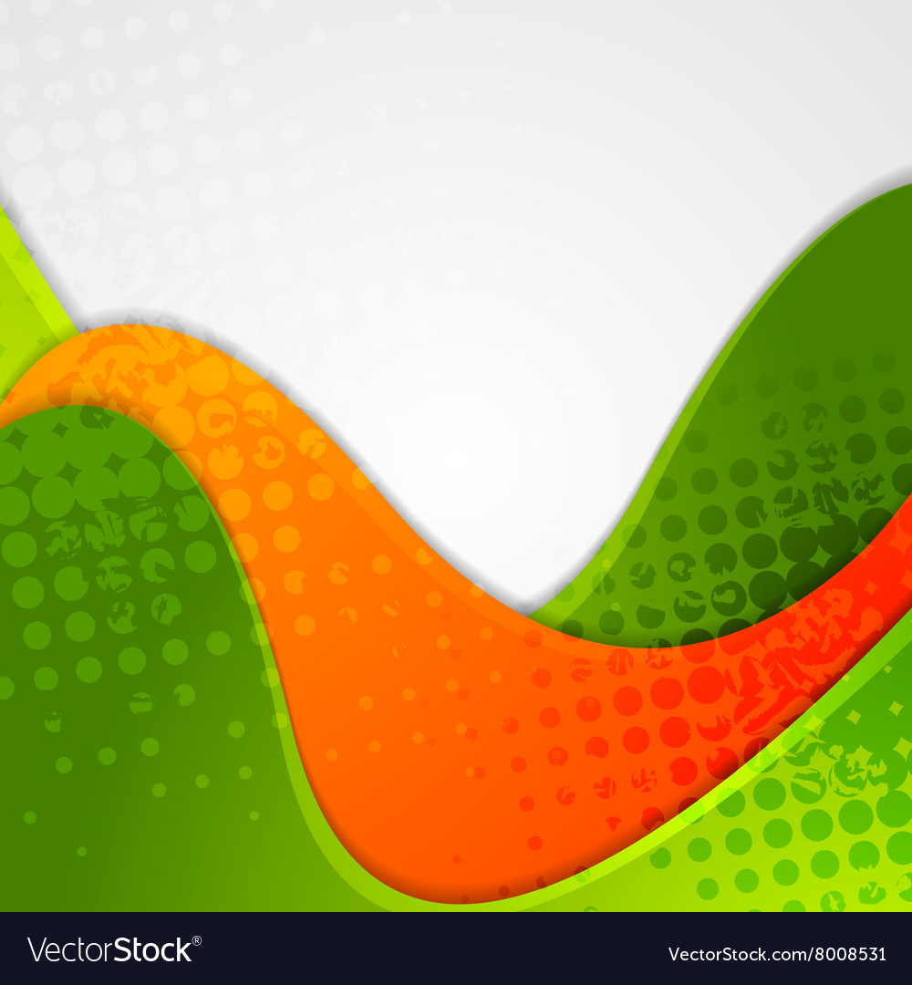 Abstract grunge green orange wavy background vector