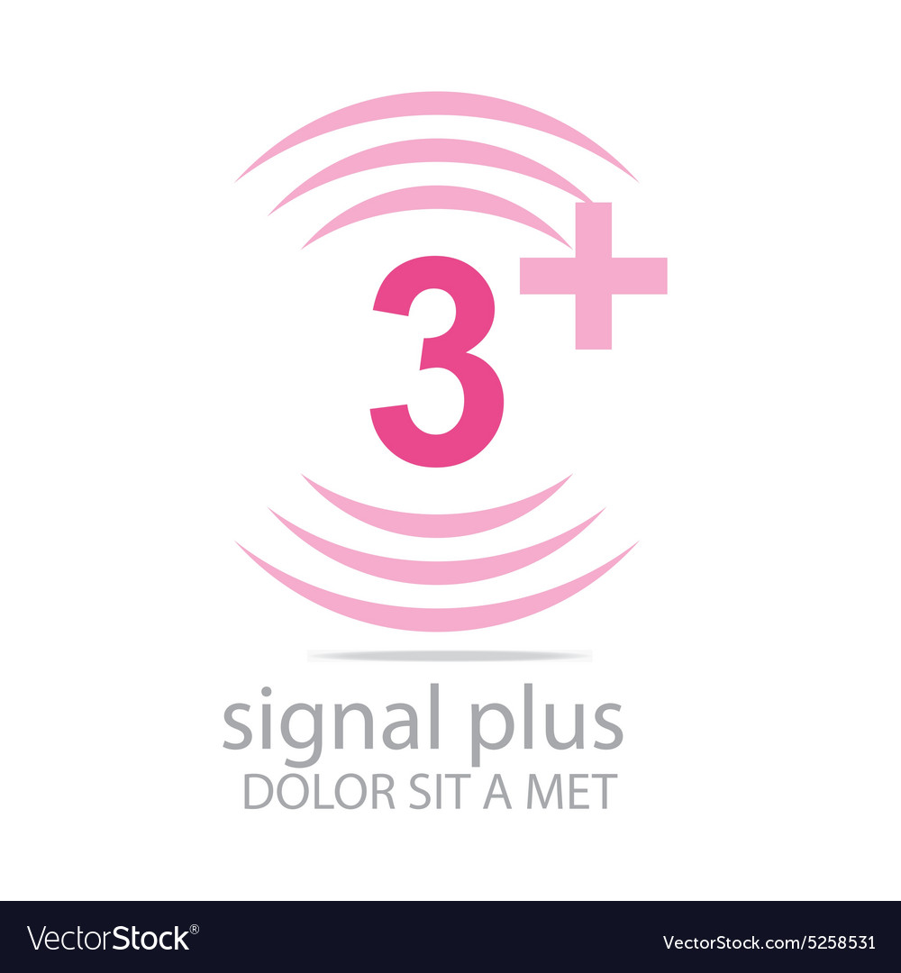 Logo signal number 3 plus pink figure wireless vector