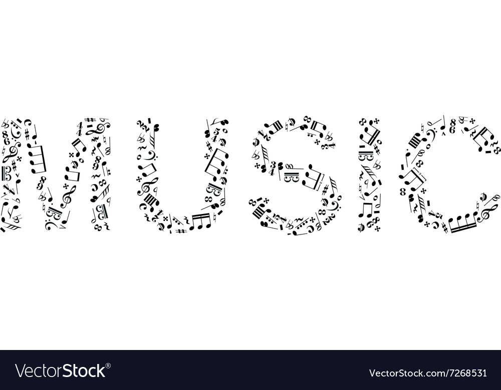 Word music made of music signs vector