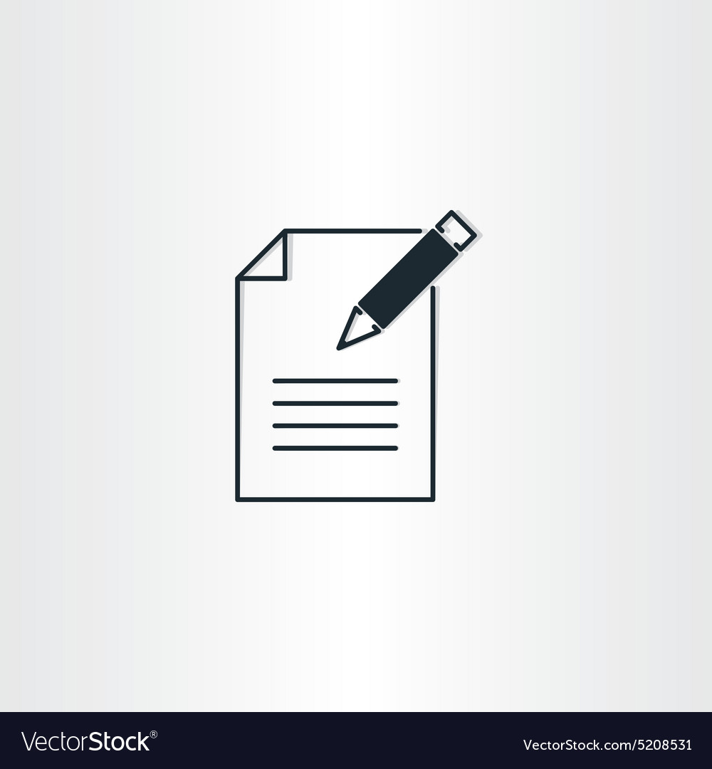 Writing icon paper notebook and pen symbol vector