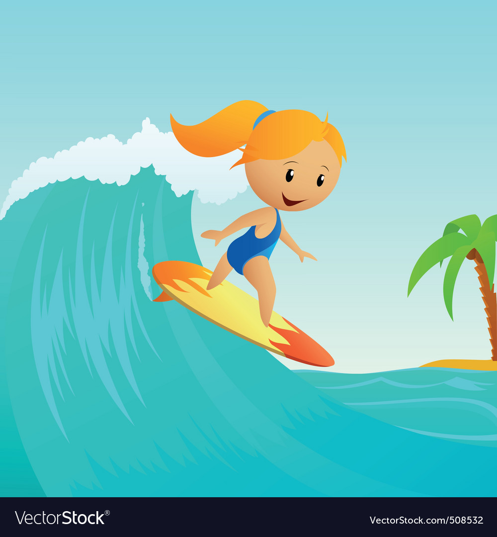 Cartoon cute little girl surfing on waves vector