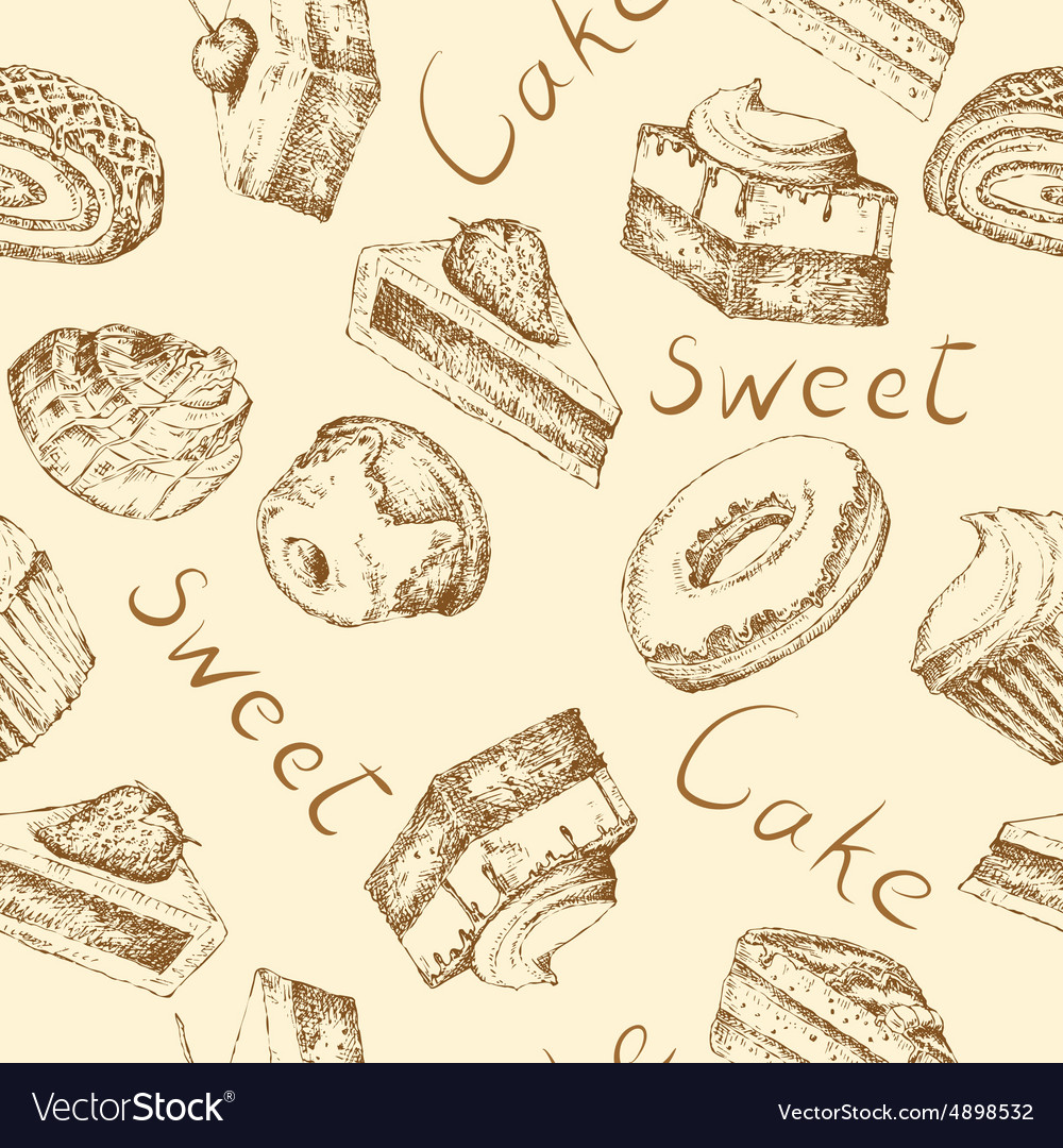 Seamless cake background vector