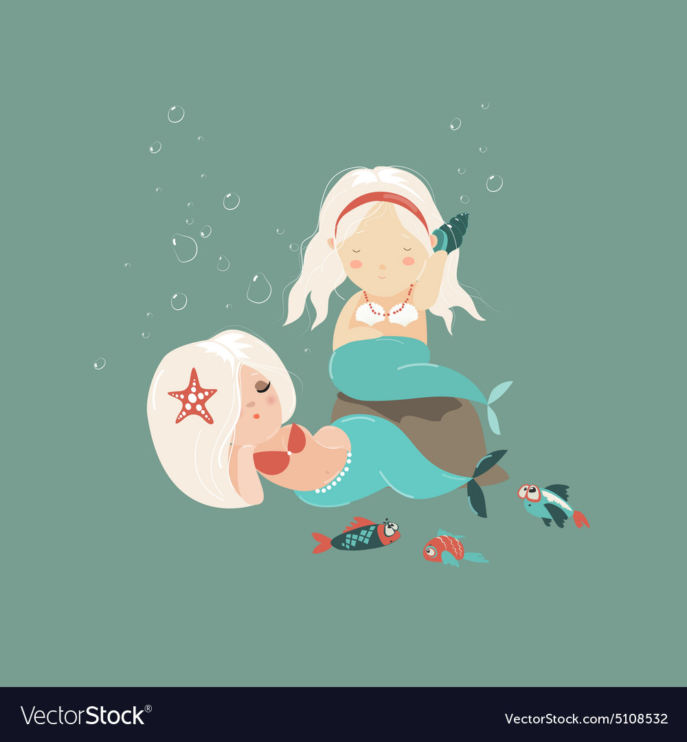 Two little beautiful mermaid girls vector