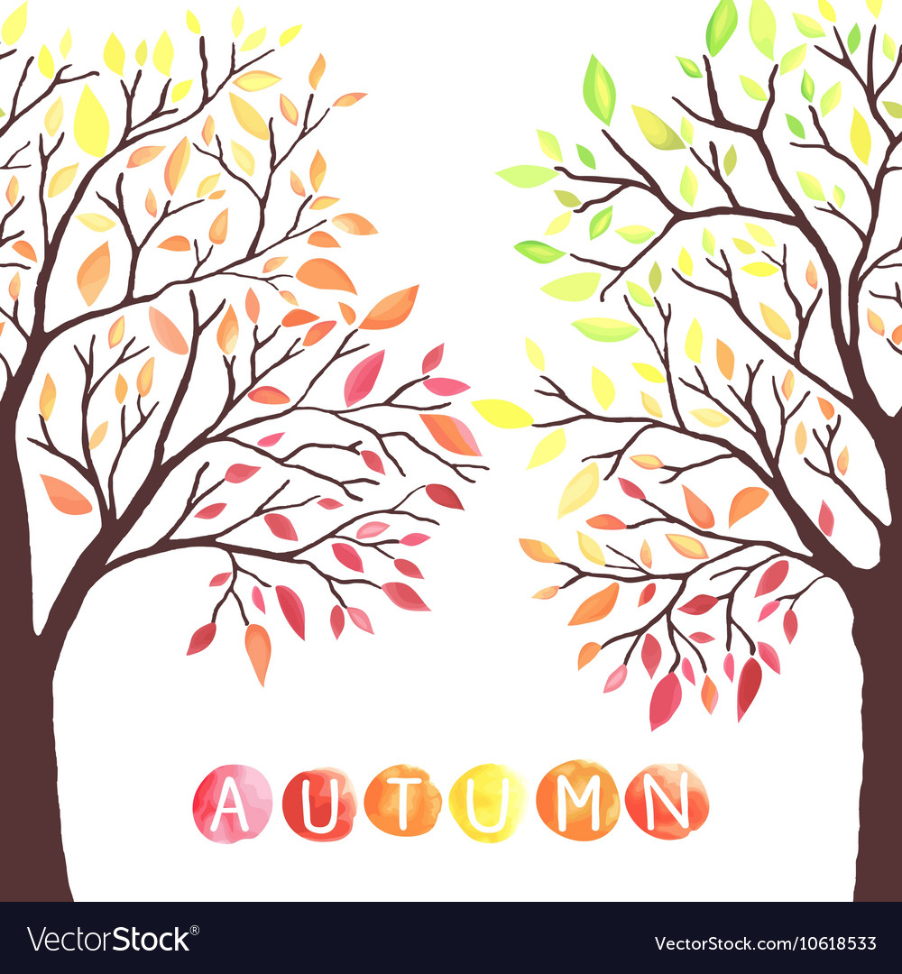 Autumn trees with falling down leaves vector