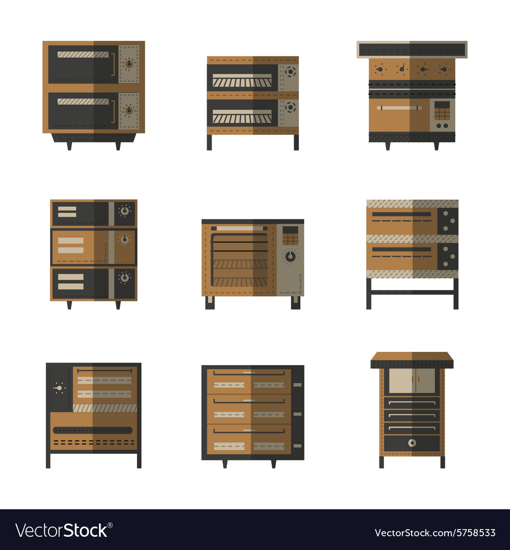 Flat color icons for ovens and stoves vector