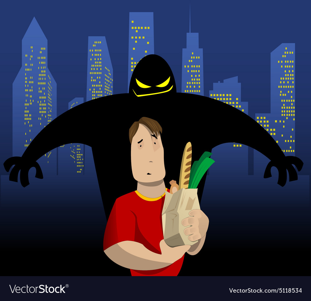 Cartoon about crime to in a city street vector