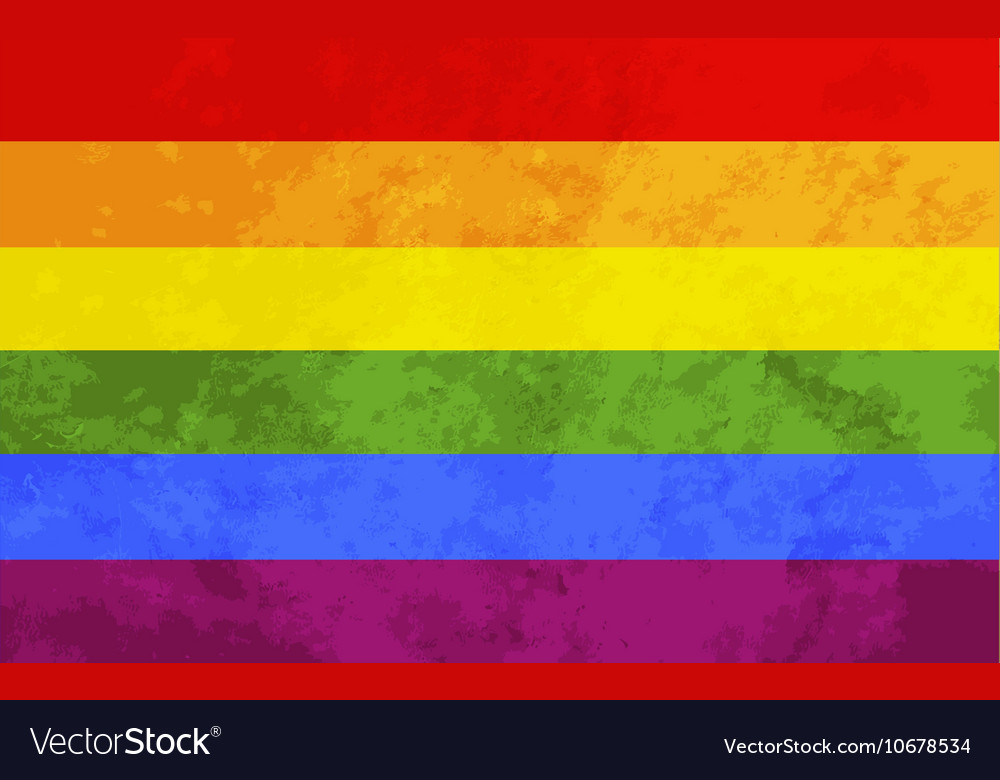 Rainbow flag with texture lgbt community sign vector