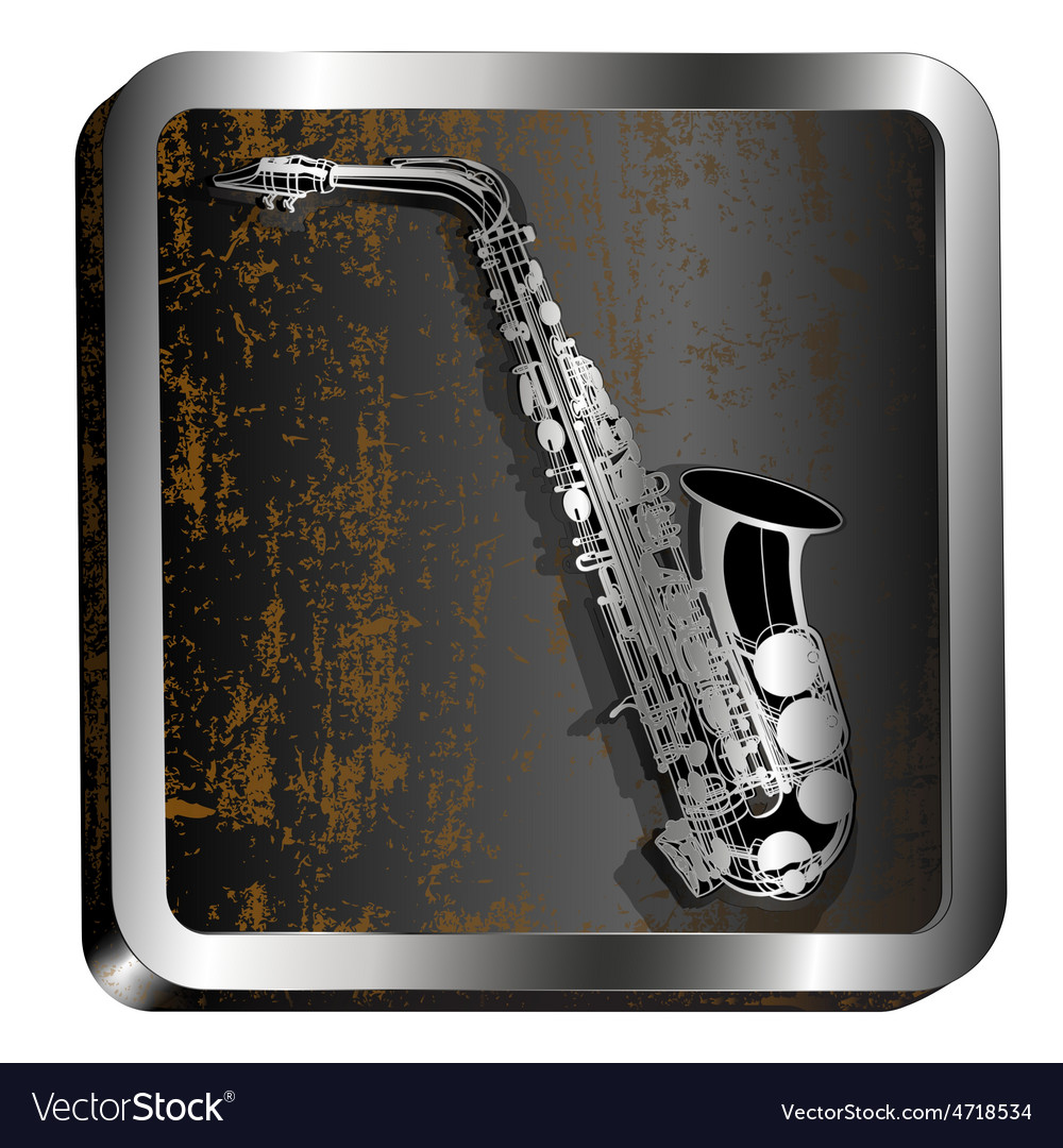 Steel icon saxophone engraving vector