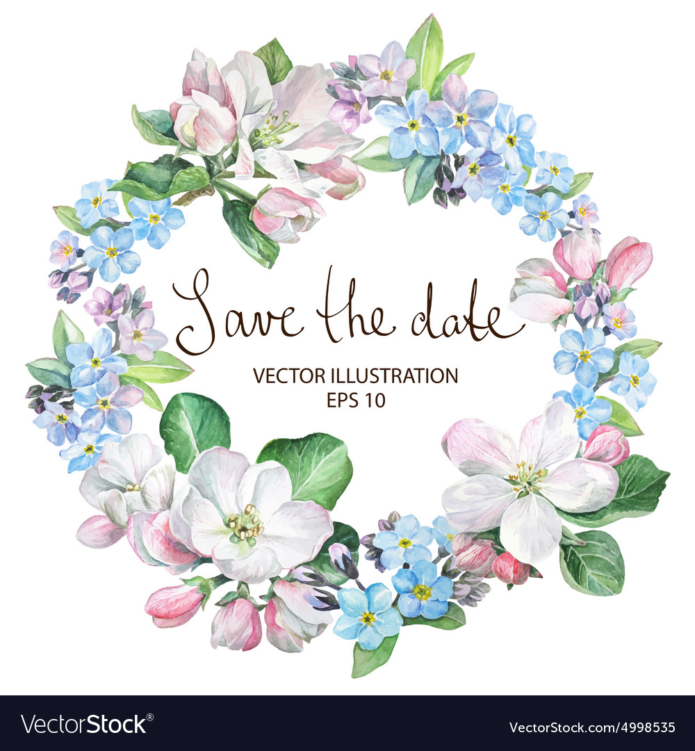 Apple blossom with forgetmenot border vector