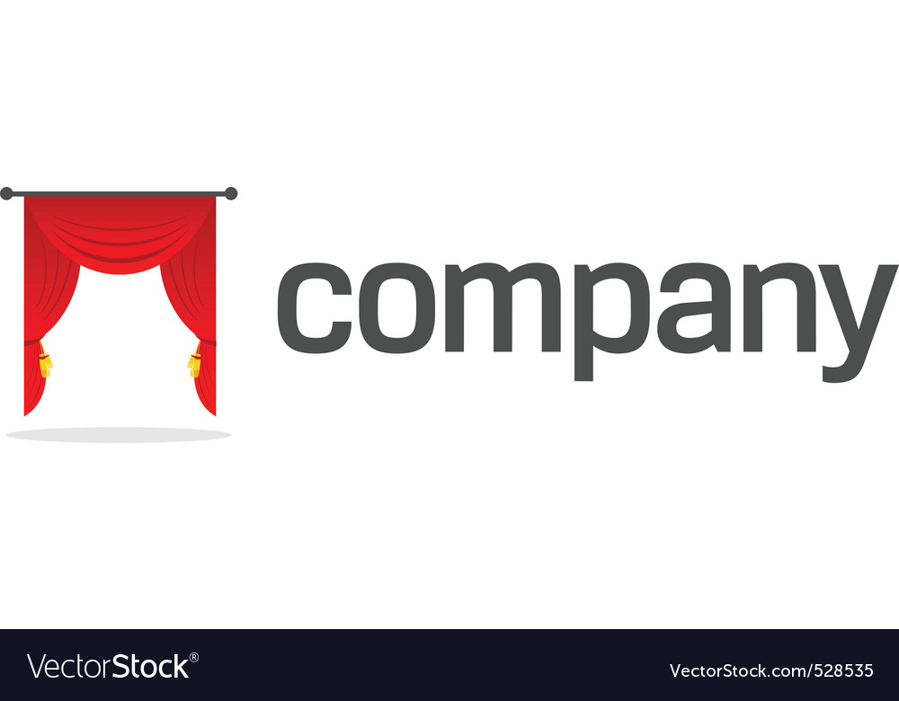 Red curtain logo vector
