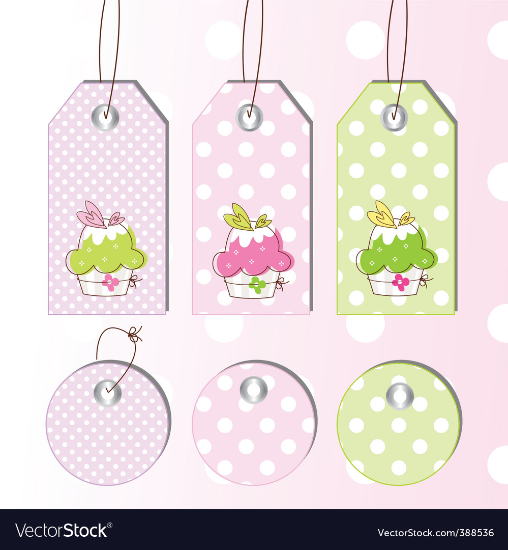 Cup cake tags vector
