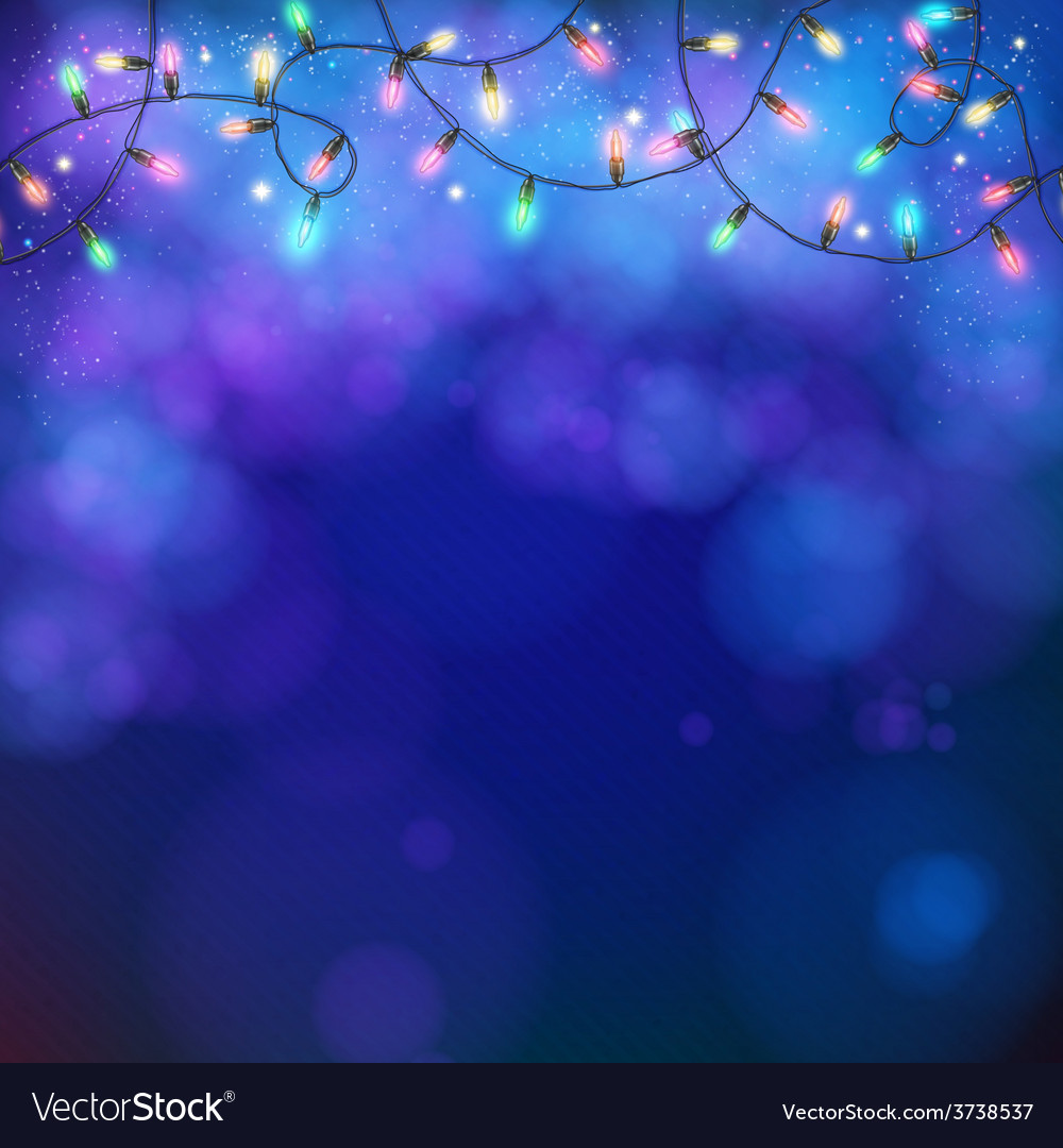 Blue party background with party lights and bokeh vector