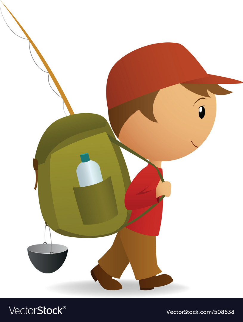 Cartoon traveller man with big backpack vector