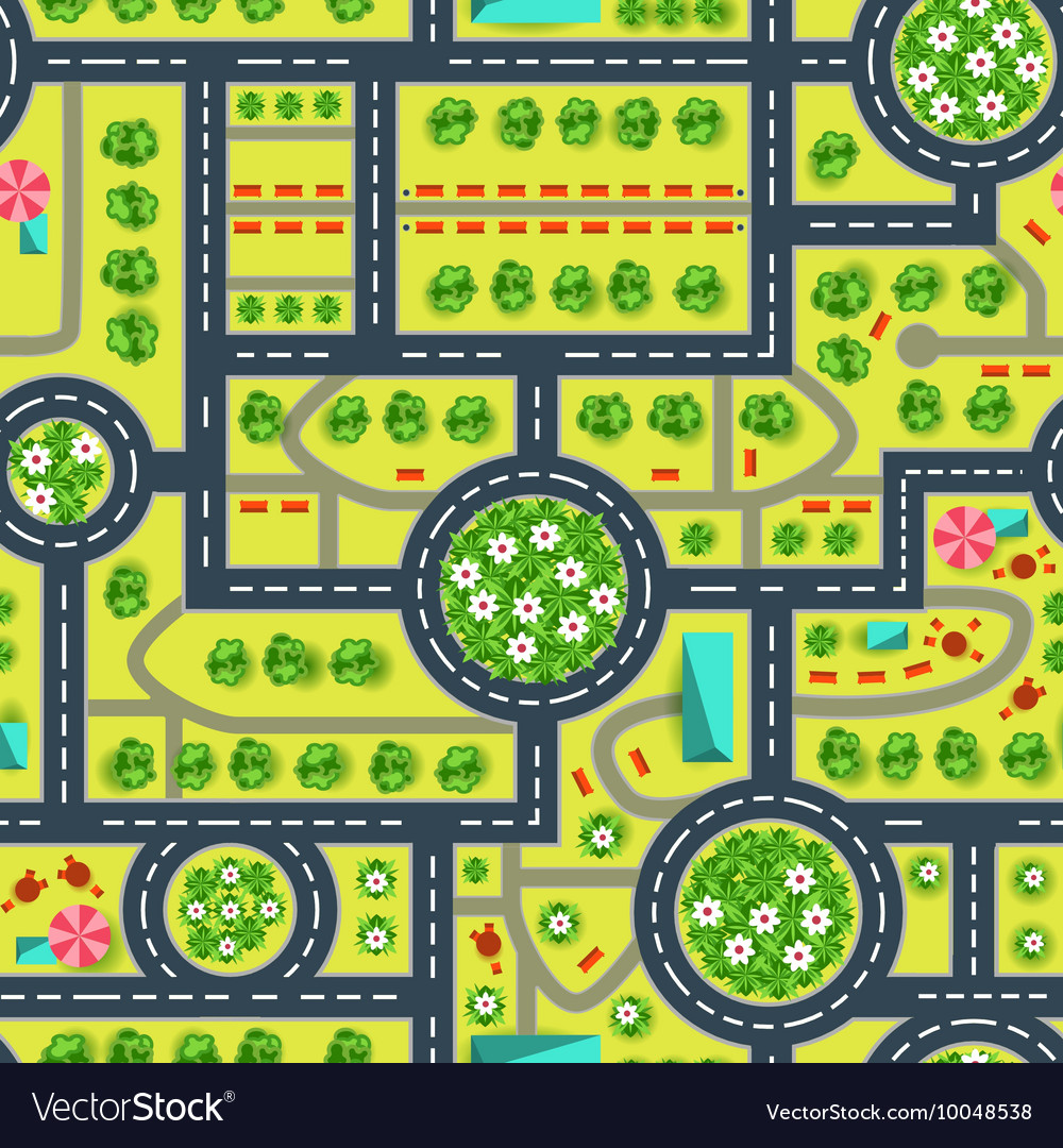 Map of a top view from the city road and trees vector