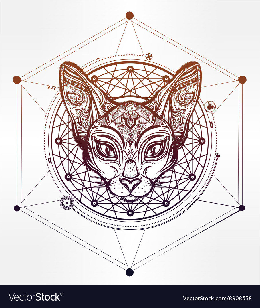 Vintage ornate cat head with tribal ornaments vector