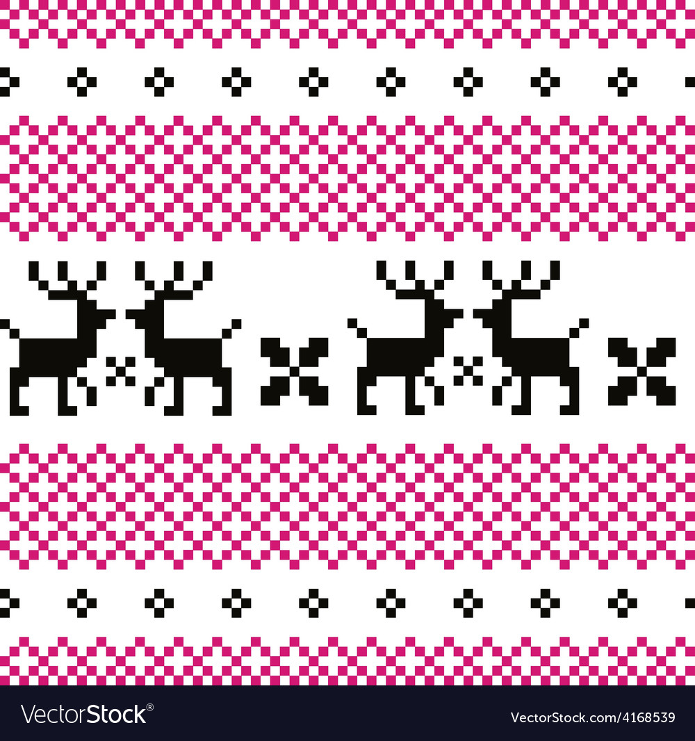 Cute reindeer pattern  black and pink vector
