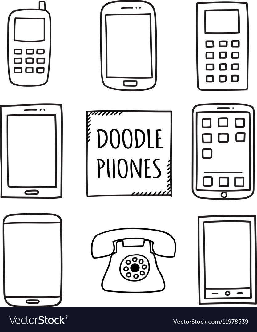 Doodle phones set old modern smartphones  vector