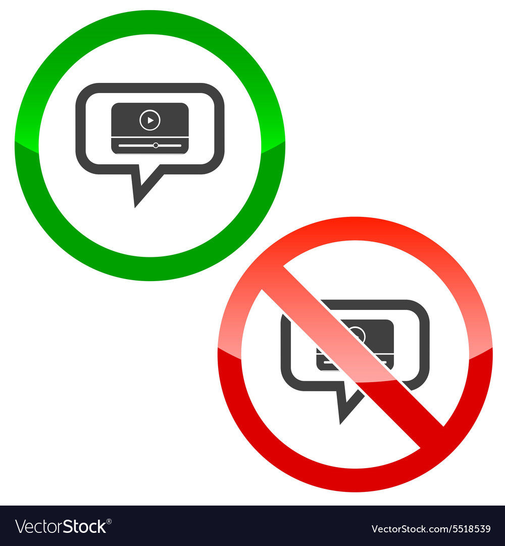 Mediaplayer message permission signs vector