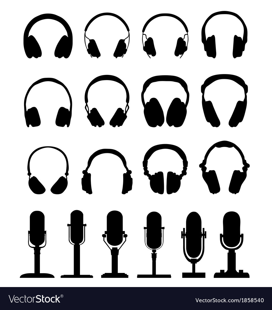 Headphones and microphones vector