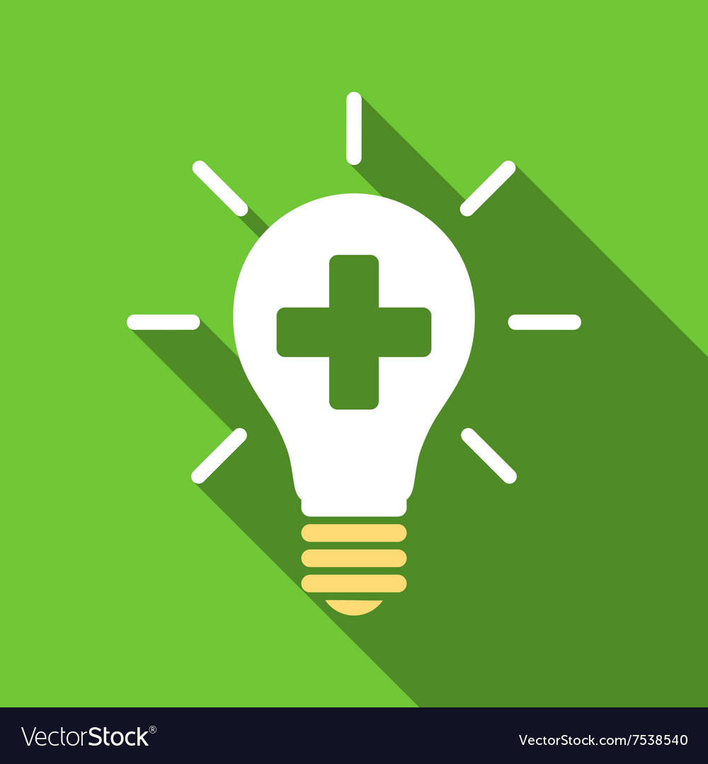 Medical electric lamp flat long shadow square icon vector