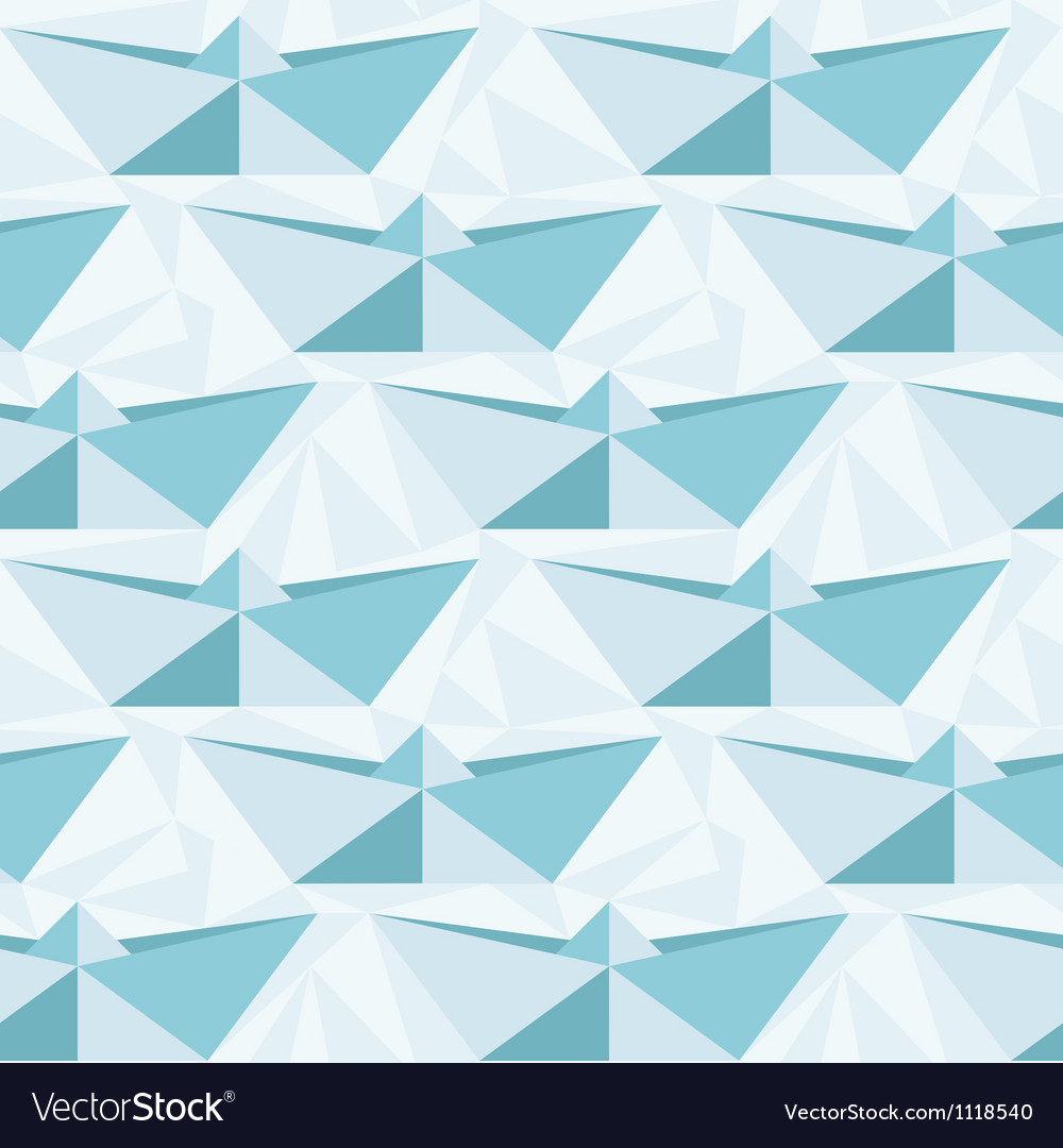 Seamless geometric pattern with origami boats vector