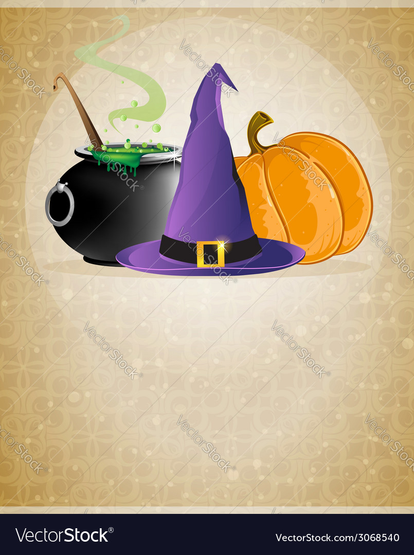Witch hat boiling cauldron and pumpkin vector