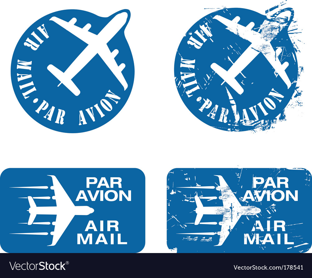 Par avian rubber stamp vector