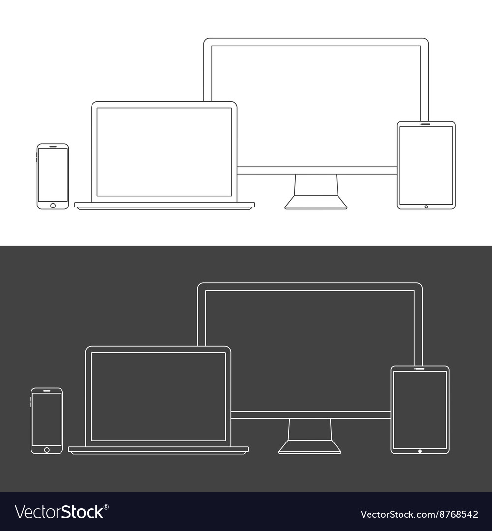 Electronic devices screens isolated on white vector