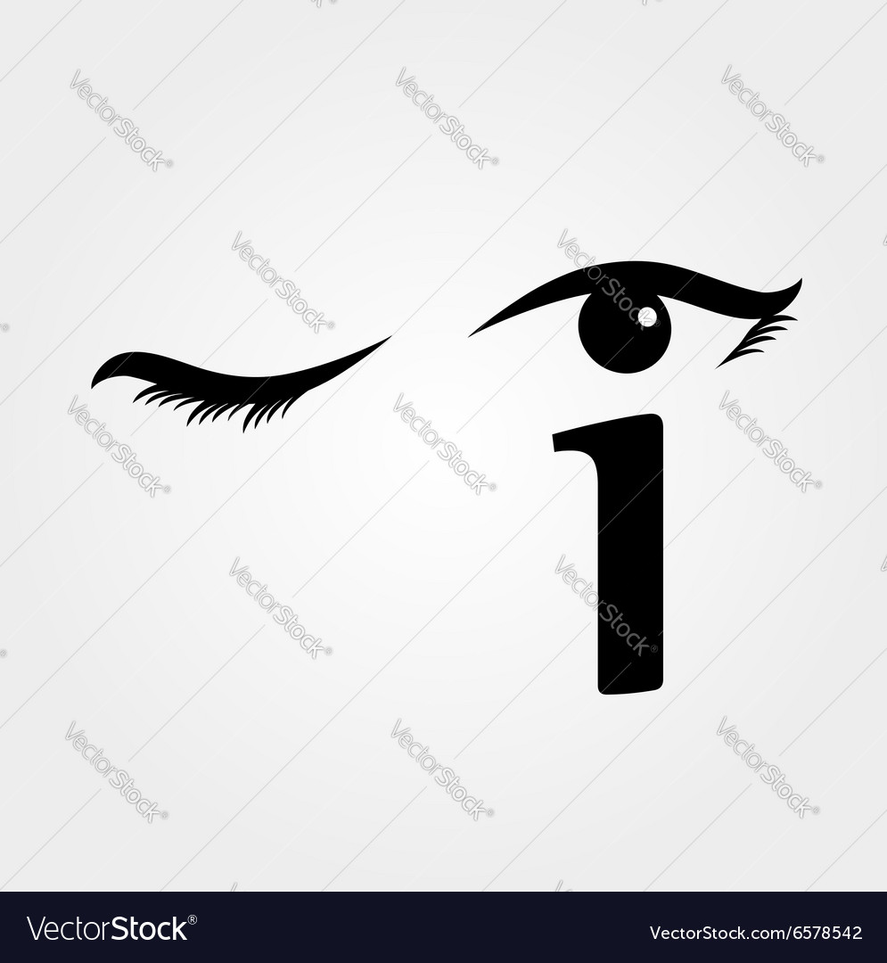 Eye winking with letter i forming the eyeball vector
