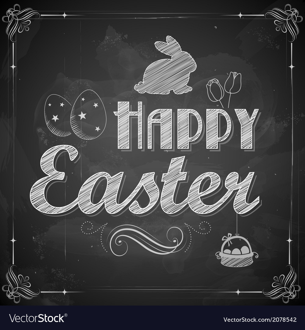 Happy easter on chalkboard vector