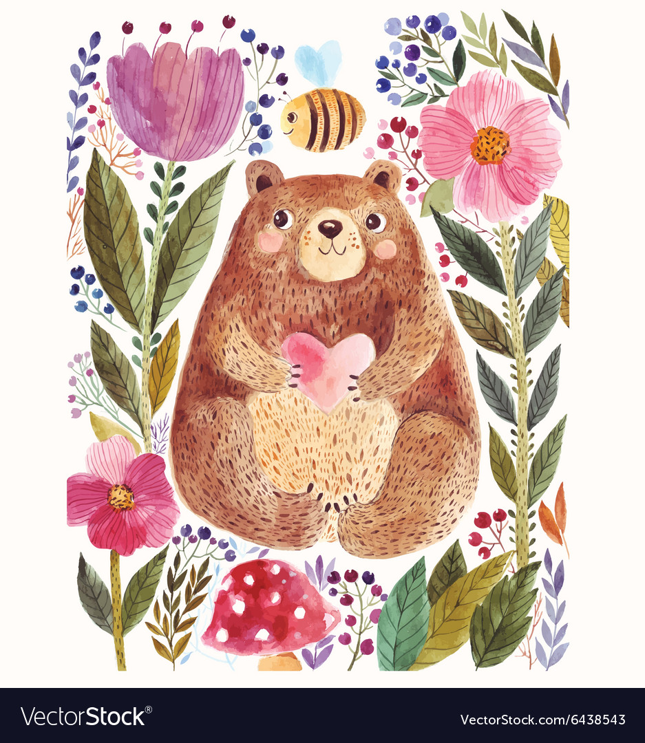 Bear and flower vector