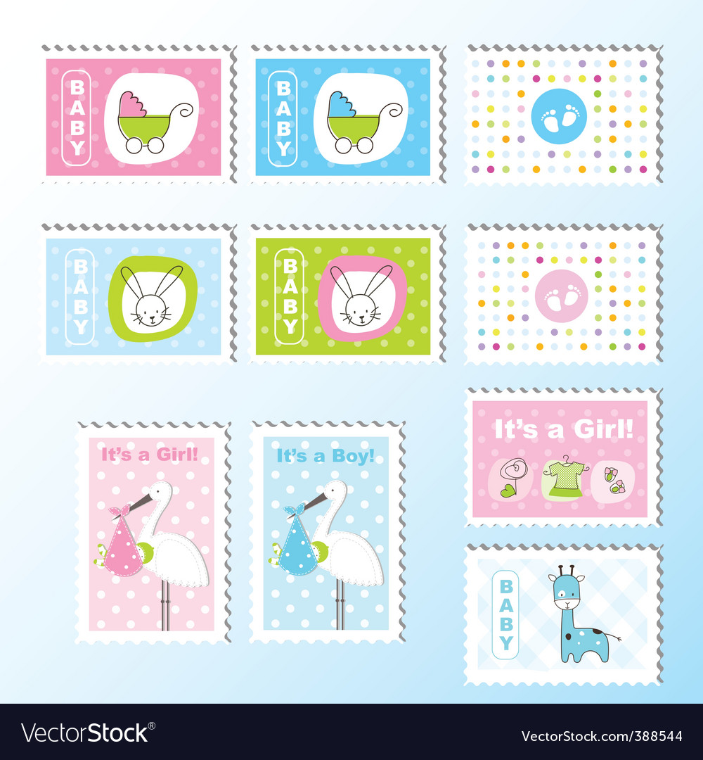 Cute stamps vector