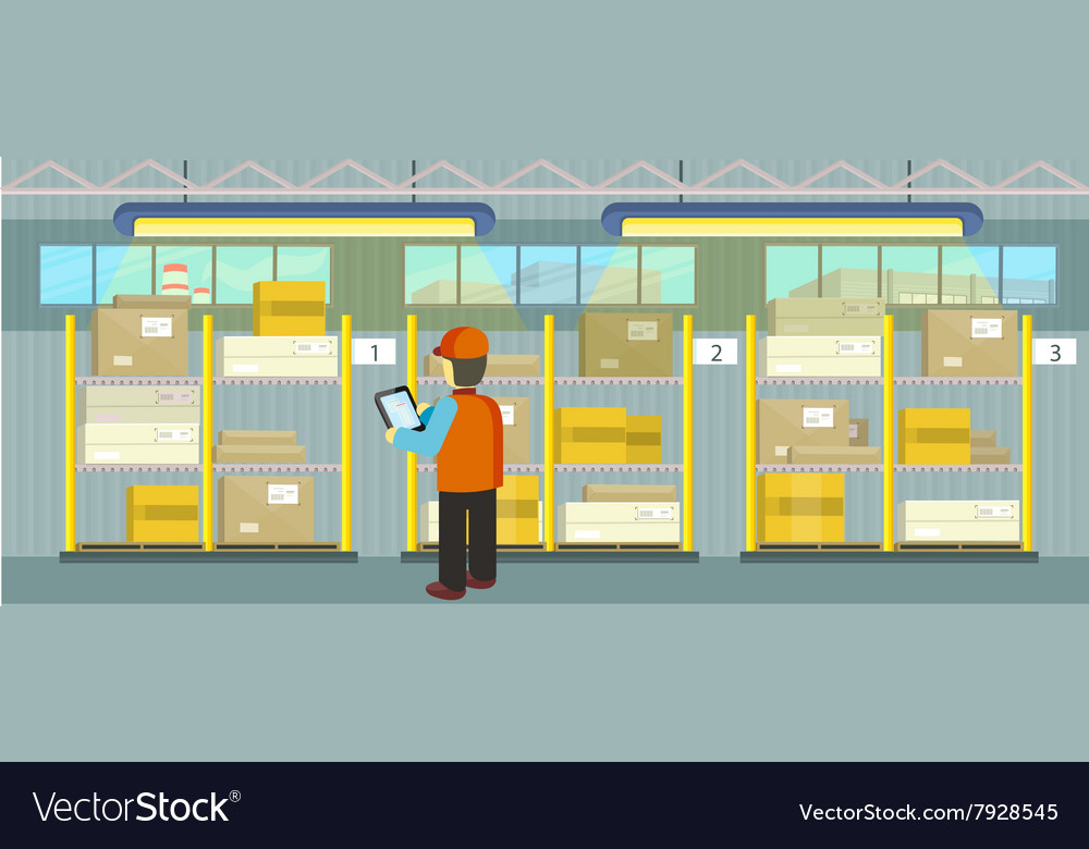 Products on the shelves warehouse vector