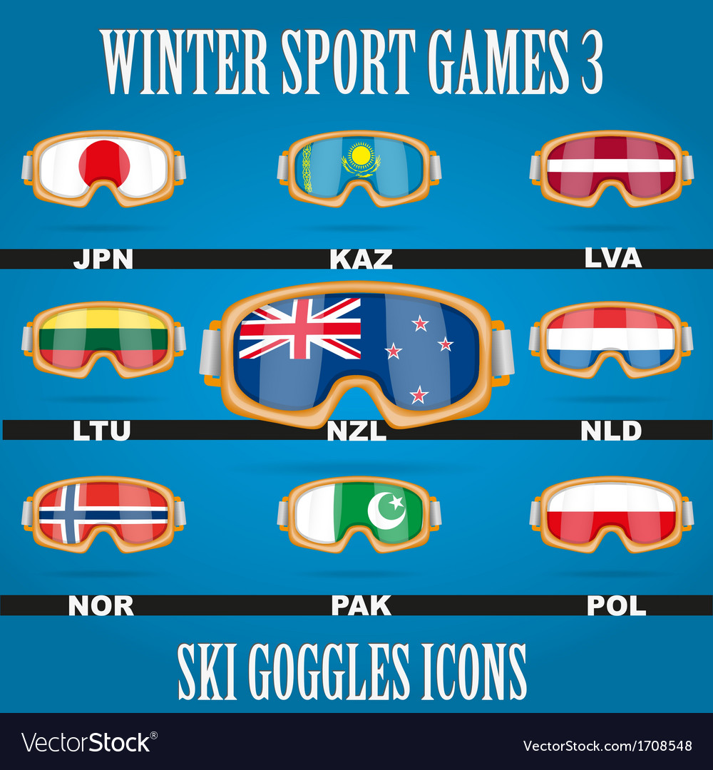 Icon goggles with flag of world vector