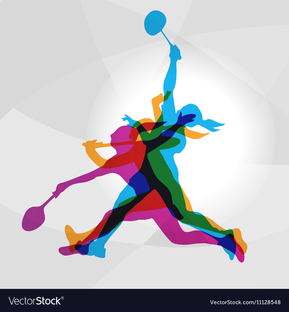 Modern badminton women players in action logo vector