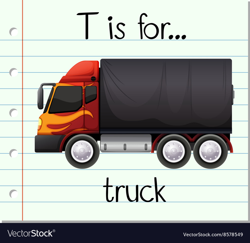 Flashcard letter t is for truck vector