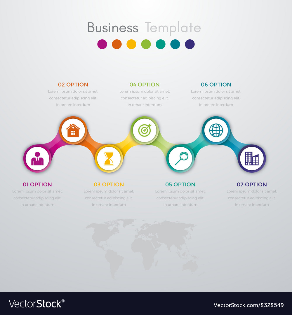 Infographics timeline seven options vector