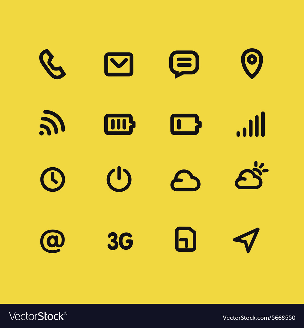 Mobile interface and apps line icon set vector