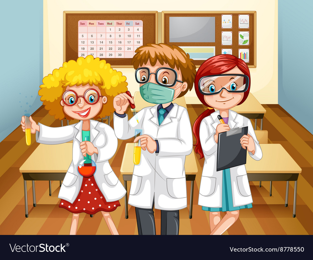 Three scientists with beakers in the classroom vector