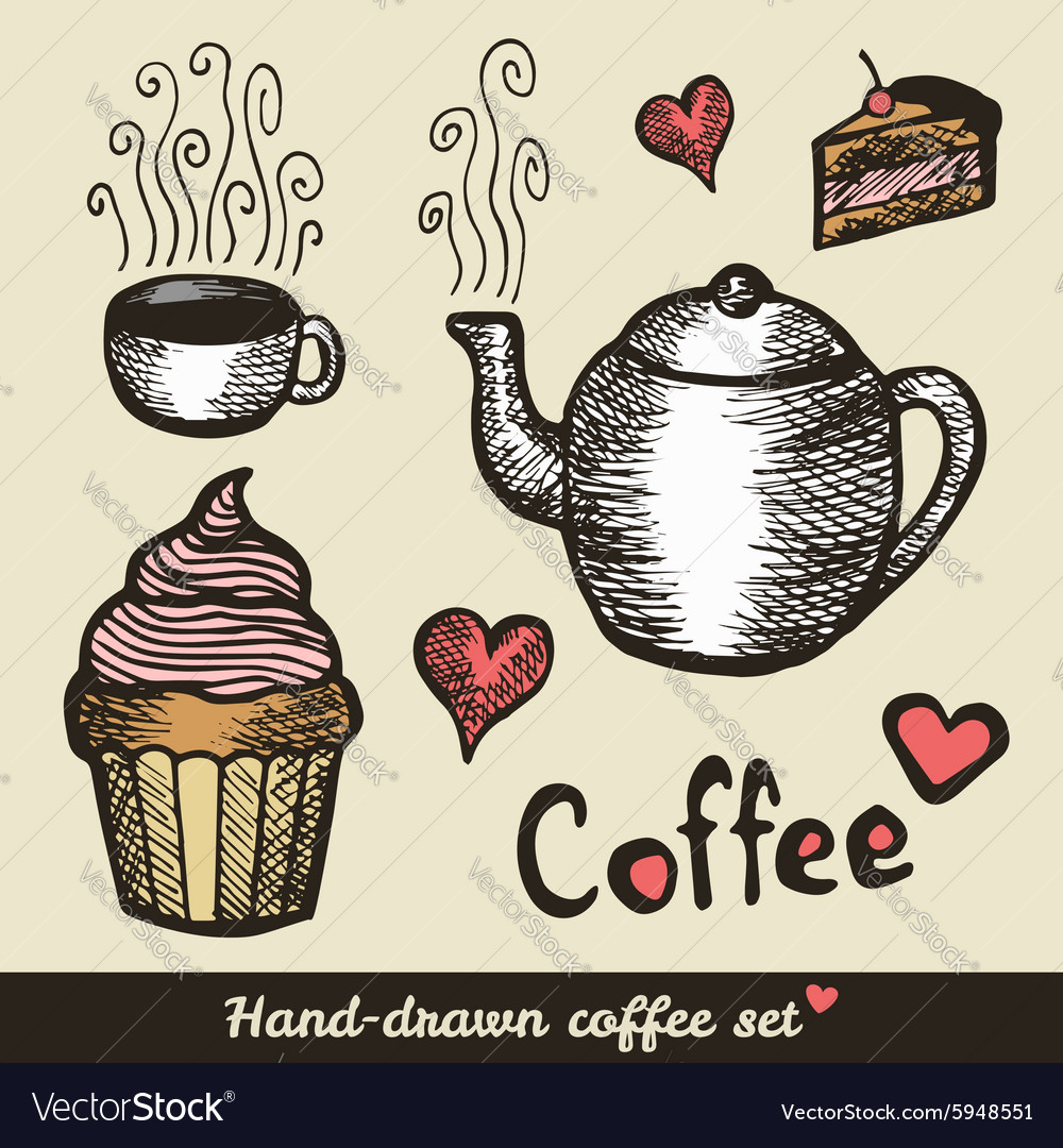 Hand drawn coffee and cakes vector