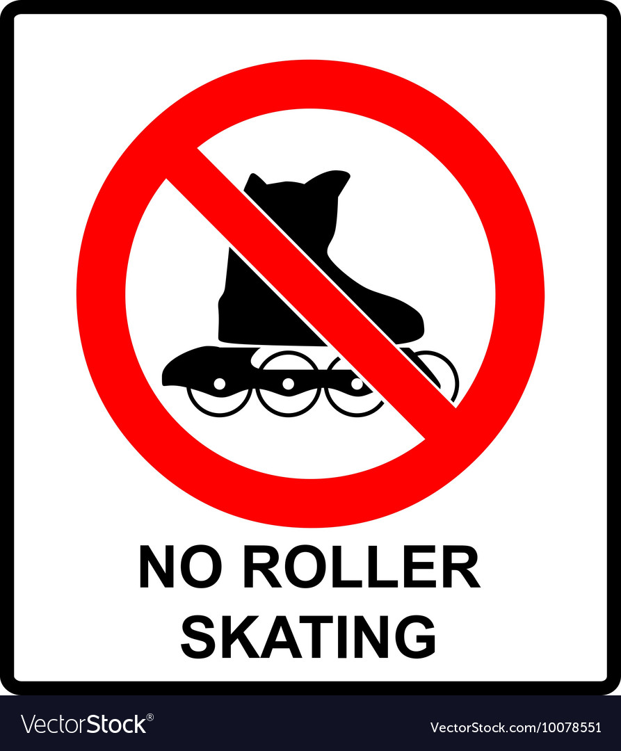 Please no rollerblades sign in isolated on vector